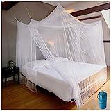 EVEN NATURALS Luxus MOSKITONETZ Doppelbett, großes Mückennetz für Bett, feinste Löcher, rechteckiger Netzvorhang Reise, Insektenschutz, 2 Einträge, einfache Anbringung, Tragetasche, Keine Chemikalien