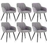 WOLTU 6 x Esszimmerstühle 6er Set Esszimmerstuhl Küchenstuhl Polsterstuhl Design Stuhl mit Armlehne, mit Sitzfläche aus Leinen, Gestell aus Metall, Hellgrau, BH107hgr-6