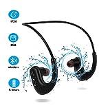 Wasserdicht Kopfhörer zum Schwimmen, IPX8 in-Ear 8GB MP3 Player Sport Kabellos Stereo Ohrhörer mit Geräuschunterdrückung Mikrofon für Laufen, Fitnessraum, Radfahren, schwarz