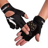 Tofern Unisex Handschuhe halbfinger Lycra fluoreszierend Muster für Skateboard Skate, Mit Handgelenk M (Handflächebreite 7-8cm)