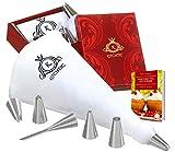 KITCHTIC Premium Spritzbeutel Set - Großer Spülmaschinenfester Mehrweg Spritzsack aus Baumwolle mit Geschenksbox, 6 Edelstahl Spritztüllen, Adapter, Reinigungsbürste und E-Book mit Tipps & Tricks