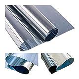 MUHOO Sonnenschutzfolie mit Hitzeschutz Fenster Innen und Außen UV-Schutz Spiegelfolie Spionfolie - Silber, 60 x 200 cm