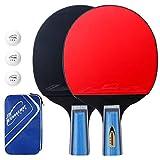 EXTSUD Tischtennis Set, 2 Tischtennisschläger mit 3 Tischtennis-Bälle und 1 Tasche Ping-Pong-Set Trainings Perfekt für Anfänger, Familien und Profis
