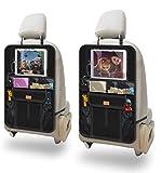 Auto Rückenlehnenschutz, AEMIAO Auto Rücksitz-Organizer für Kinder, 2 Stück Autositz Organizer, Wasserdicht Rücksitzschoner mit 12 Zoll iPad/Tablet-Halter, Kick-Matten-Schutz für Autositz