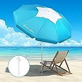 Brace Master 200cm Sonnenschirm mit Sandanker - UV 50+ Aushöhlungsdesign mit kippbarem Aluminiummast-Sonnenschirm mit Tragetasche für Außenterrasse
