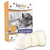 BellMietz® Katzennetz für Balkon & Fenster (durchsichtig) | Extragroßes 8x3m Katzenschutz-Netz ohne Bohren | Balkonschutz Inkl. 25m Befestigungsseil | Balkonnetz besonders transparent & sicher