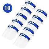 Face Shield 10 Stück Vollschutzkappen, leicht und verstellbar, transparent für Männer und Frauen