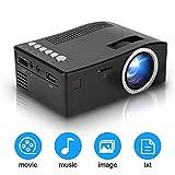 Mini Beamer Günstig, Tragbarer Heimkino LED Projektor,1080P Full HD Videobeamer mit 2000 Stunden Lampenlebensdauer/Stereo Lautsprecher,Kompatibel mit AV/HDMI/USB/TF