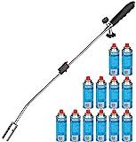 Unkrautbrenner + 12 Butangaskartuschen Abflammgerät Unkrautvernichter Gasbrenner