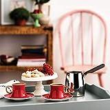 Korkmaz Kaffeeset Mokkaservice Set Türk Kahve Seti mit 6 Tassen mit Untertasse Mokka Rot