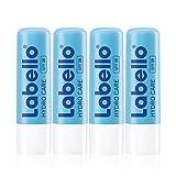 Labello Hydro Care im 4er Pack (4 x 4,8 g), Lippenpflege ohne Mineralöle für trockene Lippen, Lippenpflegestift mit LSF 15 und Sheabutter für pflegenden Lippenschutz