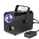 Deckey Nebelmaschine mini mit buntes LED Licht Discolicht, Neueste 500W Party DJ Nebelmaschine für Kinder Halloween Bühnenauftritte Weihnachten mit fernbedienung,2 Arten: kabelgebunden und kabellos