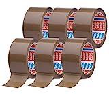 tesapack 64014 im 6er Pack - Geräuscharmes Paketklebeband zum Verpacken von Paketen und Versandschachteln - braun - 6 Rollen je 66 m