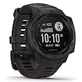 Garmin Instinct – wasserdichte Sport-Smartwatch mit Smartphone Benachrichtigungen und Sport-/Fitnessfunktionen mit GPS, 14 Tage Akkulaufzeit, Schwarz