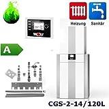 Gas-Brennwertherme Wolf Paket CGS-2-14 mit Speicher CSW 120 Regelung BM-2