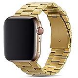 Tasikar Armband Kompatibel mit Apple Watch Armband 42mm 44mm Prämie Edelstahl Metall Ersatz Armband für Apple Watch Series 6 Series 5 Series 4 Series 3/2 /1, SE (Gold)