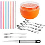Grapefruit Löffel Messer Schüssel Set - inklusive gebogenem Wellenschliff Grapefruit Messer, Obstlöffel, Grapefruit Saver und Obstgabeln