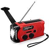 Outdoor Solar Radio, Multifunktion Tragbares Outdoor Radio Kurbelradio f¨¹r Notf?lle,mit AM/FM Wetter Radio, mit LED Taschenlampe/mit 2000mAh Eingebaute Batterie Power Bank, Notfall SOS Alarm (Rot)