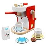 PL Kaffeemaschine Kinder Holz Rollenspiel Holzspielzeug Küche Haushaltsgeräte mit Tasse, Milchbox und Kaffeepad Pädagogisches Spielzeug ab 3 4 5 6 Jahren Junge Mädchen(14.3*12.3*18.5cm)