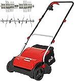 Grizzly Elektro Vertikutierer EV 1201 Set mit Fangsack, Lüfterwalze - Elektrischer Rasenlüfter zur Gartenpflege