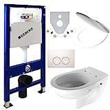 Geberit Duofix Vorwandelement + Wand Tiefspül WC + Delta 21 + WC Sitz - WC Set