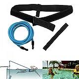 FOOING Einstellbare Pool Schwimmgürtel, Schwimmwiderstand Gürtel Schwimmtraining Bungee Durable Schwimmgurt Bremsschirm und Elastikband für Schwimmingpools Widerstandstraining (4M Blau)
