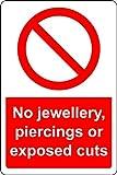 Sicherheitsschild, Aufschrift No Jewellery Piercings or exponierte Cuts, 1,2 mm, starrer Kunststoff, 200 x 150 mm