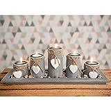 dszapaci Teelichthalter-Set auf Holz-Tablett Weihnachten Tischdekoration Weihnachtsdekoration innen Tischdeko Landhausstil Wohnzimmer-Tisch (Nr.1)