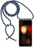 Herbests Kompatibel mit iPhone 5S / iPhone SE Handykette Hülle mit Umhängeband Durchsichtig Necklace Hülle mit Kordel zum Umhängen Schutzhülle Silikon Handyhülle Kordel Schnur Case,Blau Weiß