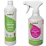 awiwa 2er Set Sanitärflüssigkeit: wc mobil 1l (Toilettenzusatz)+ Flush Spray 500ml Reinigungsspray für die Camping Toilette