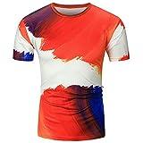 YCQUE Mode Männer Sommer Mode Lässig Täglich Straße Sport Kurzarm Oansatz Hemd Flagge Gedruckt Atmungsaktiv Komfortable Slim Fit T-Shirts Tops Rot