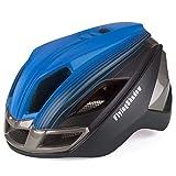 FlyingShadow Erwachsene Urban Fahrradhelm mit Licht MTB Helm Herren Damen Verstellbar Rennradhelm Radhelm Rennradhelm 16 Belüftungskanäle Blau