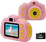 Cocopa Kinder Fotoapparat Kinderkamera für Jungen, Digitalkameras für Kinder kamera 32 GB Videokamera Geschenke für Kleinkinder Spielzeug für Jungen Mädchen im Alter von 3 4 5 6 7 8 9 Jahre alt (Pink)