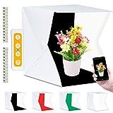 Fotobox, Fotostudio Lichtzelt 40x40 mit 3 Lichtfarben 140 LED Mini Mobiles Tragbare Tischplatte Fotografie Leuchtkasten, Lichtwürfel Fotozelt mit 4 Hintergrund(Weiß/Schwarz/Rot/Grün)