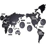 Yhz@ Europäische Weltkarte Wanduhr Stille Persönlichkeit Wohnzimmer Schlafzimmer Wand Dekoration Innen Dekoration Wandaufkleber, Batteriebetrieb Wanduhr (Farbe : Black 1, größe : 220 * 126cm)