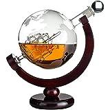 Whisiskey® Whiskey Karaffe - Globus - Whisky Karaffe Set - 900 ml - Geschenk für Männer und Frauen - Inkl. 9 Whisky-Steine und Geschenktülle