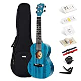 Konzert ukulele Enya EUC-25D BU 23 Zoll Blau Massiv Mahagoni Top Ukelele Starter-Kit mit Tasche,Stimmgerät,Saiten,Kapodaster,Gurt,Picks,Poliertuch,Sandfinger-Shaker