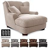 CAVADORE XXL-Sessel Oasis / Großer Polstersessel im modernen Design / Inkl. 2 schöne Zierkissen / 120 x 99 x 145 / Lederoptik in beige