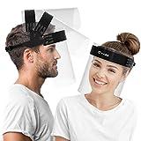 HARD Visier Gesichtsschutz 1 x Halter mit 2 x Wechselvisier, Aufklappbares Face Shield mit beidseitigem Anti-Beschlag, Gesichtsschild mit verstellbarem Verschluss Schwarz/Schwarz