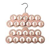 Mangotree Schal aufbewahrung, Schalbügel, 11 Löcher samt rutschfeste Schal & Gürtel & Halsketten Aufhänger&Schalhalter- 2er-Set-Pink