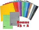 15 Brunnen Schnellhefter Papphefter 13 Farben extra stark 375g (15er Pack, Sortiert)