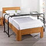 maxVitalis Über-Betttisch auf Rollen höhenverstellbar/breitenverstellbar, Overbed Table, Mobiler Schreibtisch, Pflegetisch, Laptoptisch, Bettbeistelltisch, Breite 119-190 cm & Höhe 66-85 cm