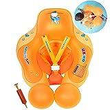 HONGCI Baby Schwimmring Baby Float Schwimmreifen mit Pumpe, Baby Schwimmen Ring Baby Schwimmhilfe Kinder Schwimmring Aufblasbarer Einstellbare Life Boje Schwimmtrainer für Baby (3 - 12 Monaten,S)