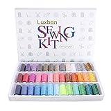 Luxbon 39 Spulen Polyester Nähgarn 200 Yard Sewing Thread Nähset regenbogenfarben farblich sortiert Box-Set ideal für Quilts Nähen/Hand-Näharbeiten