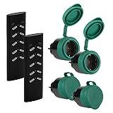 SEC24 - Funksteckdosen Set 4+2, für den Außenbereich/Outdoor, 2300 Watt, Plug & Play Funkschalt Set, Steckdosenadapter, Steckdose Fernsteuerung, schwarz/grün (matt), Spritzwassergeschützt - HAF780S2