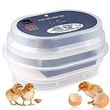 Amzdeal Inkubator, Vollautomatische Brutmaschine, Motorbrüter Hühner, Brutapparat mit LED Temperaturanzeige und Präzieser Temperaturfühler, Temperatur und Feuchtigkeitsregulierung, für 9-12 Hühnereier