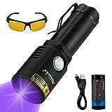 Alonefire X901UV 10W 365nm UV Taschenlampe, Tragbar, USB Aufladbar Schwarzlicht Taschenlampe Haustier Urin Detektor für Harzhärtung, Trockenfärbung, Skorpion mit Aluminiumgehäuse, 26650 Batterie