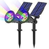 T-SUN 7LED Solarleuchten, Outdoor Wandleuchte, Wasserdicht Drahtlos Solar Gartenleuchten, 7 Farbwechsel, 2 Beleuchtungsmodi, Auto-on/off, Sicherheitsbeleuchtung für Hof, Rasen,Terrasse.
