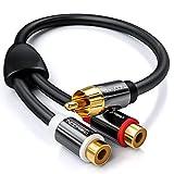 deleyCON 0,20m Audio Cinch Y-Adapter Verteiler Kabel für Subwoofer - AUX - 1x RCA Cinch Stecker zu 2X RCA Cinch Buchse - vergoldete Kontakte