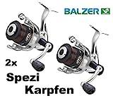 Balzer 2X Spezi 100 Karpfenrolle Paarpreis Set Angelrolle mit Schnur